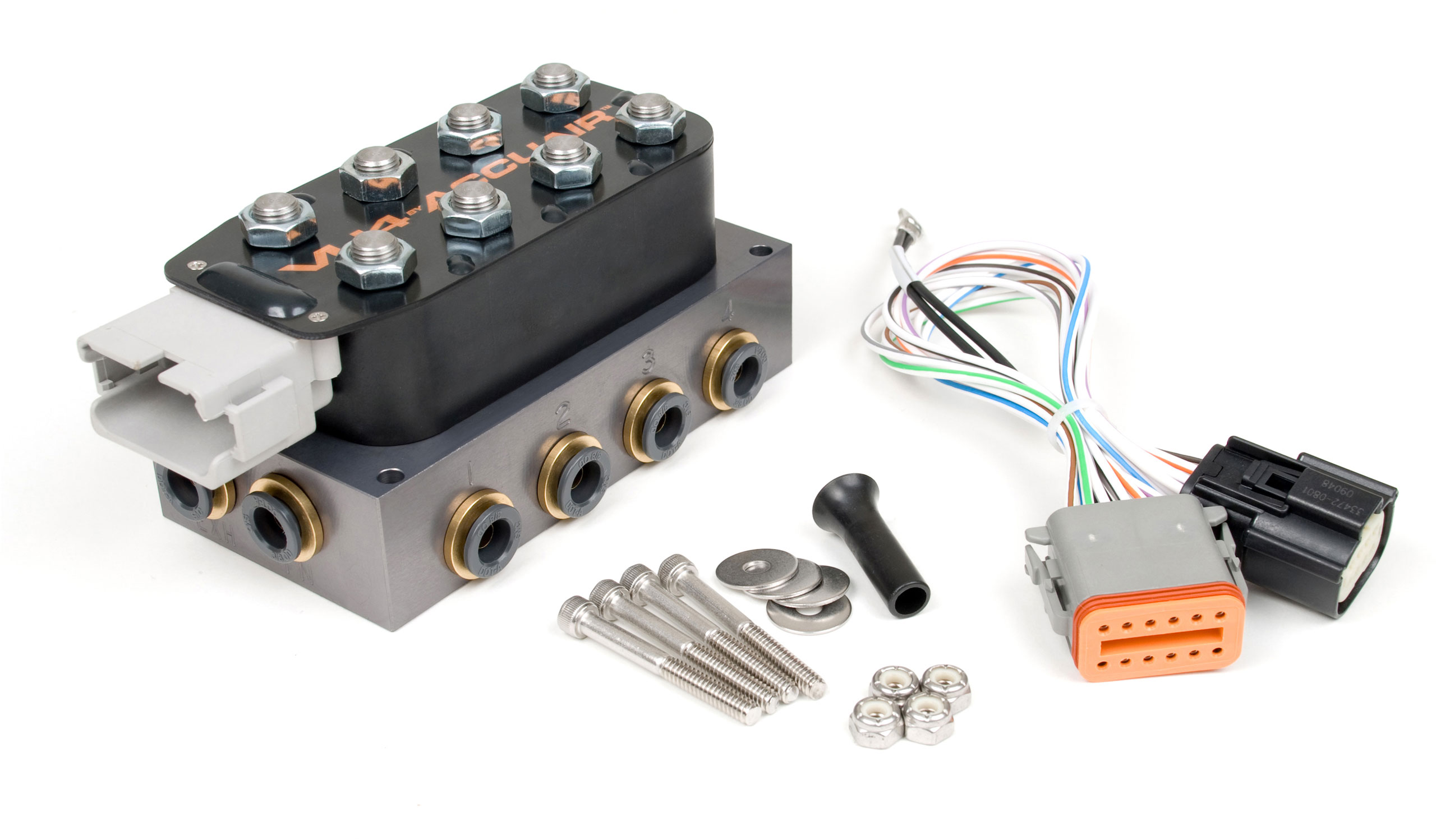 Accuair E Level Kit Including Vu4 And Dual Stealth Black 480c Viair Wiring Diagram Reliable Valve Unit